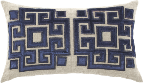 Jute Navy Velvet Bead Pillow - Callisto Home