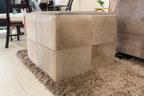 Large Grey Hide Ottoman - Jamie Young