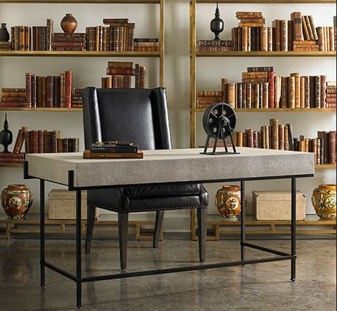 Simone Charcoal Shagreen Desk - Lillian August