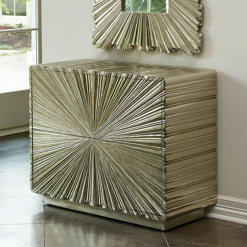 Linen Fold 2 Drawer Chest, Silver - Global Views