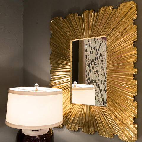 Linen Fold Mirror, Brass - Global Views