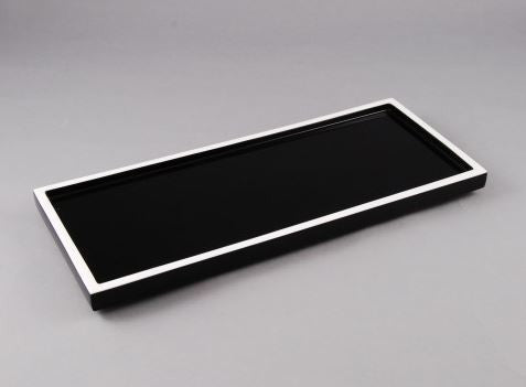 Long Vanity Tray Black with White Trim - Pacific Connections