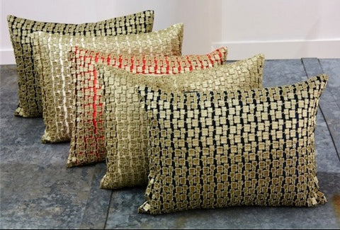 Metallic Mosaic Pillow In Gold - Ann Gish
