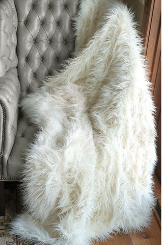 Ivory Mongolian Faux Lamb Throw - Fabulous Furs