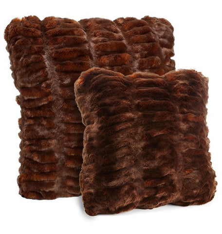 Mahogany Mink Faux Fur Pillow 24x24- Fabulous Furs