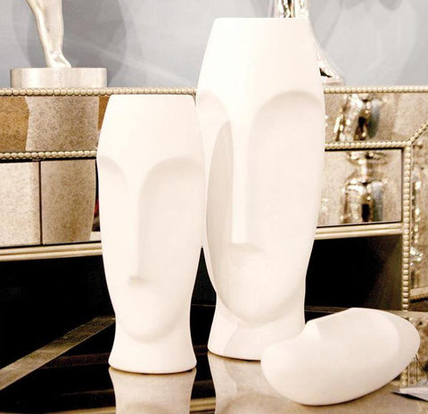 Abstract Faces Matte White Ceramic Vases S/2 - Howard Elliott