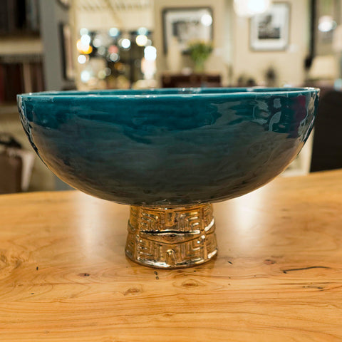 Maze Compote Cobalt Antique Gold - Global Views