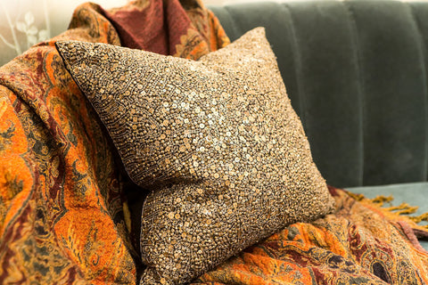 Metal Beaded Pillow - Sabira Collection