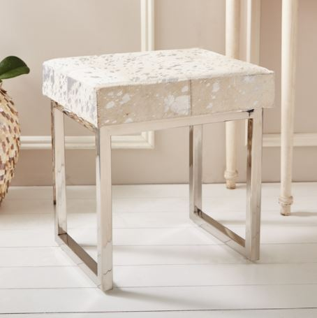 Silver Metallic Cowhide Bench - Tozai Home