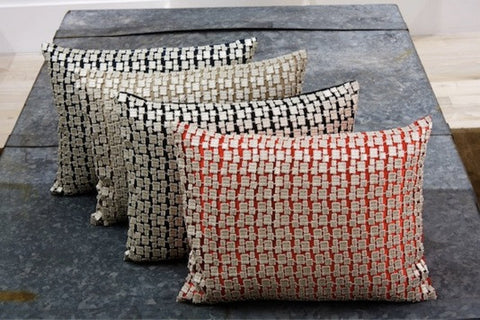 Metallic Mosaic Pillow in Platinum - Ann Gish