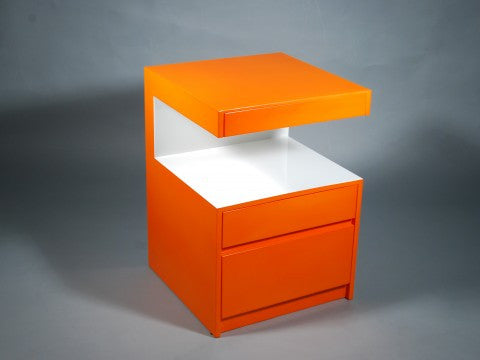 Milan Side Table, Orange and White - Pacific Connections