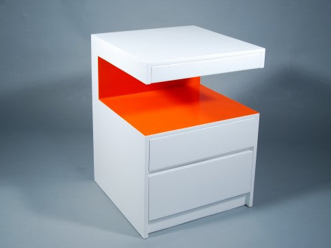 Milan Side Table, White and Orange - Pacific Connections