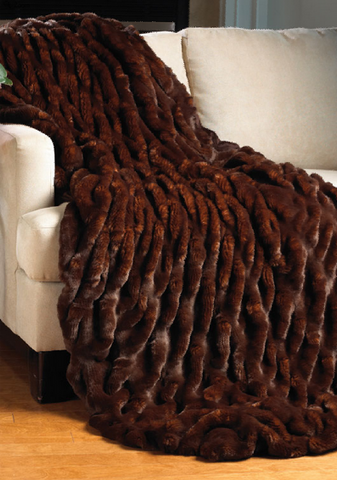 Mahogany Mink Couture Faux Fur Throw - Fabulous Furs