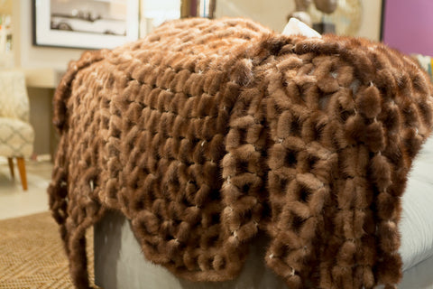 Mink Lattice Throw - Adrienne Landau