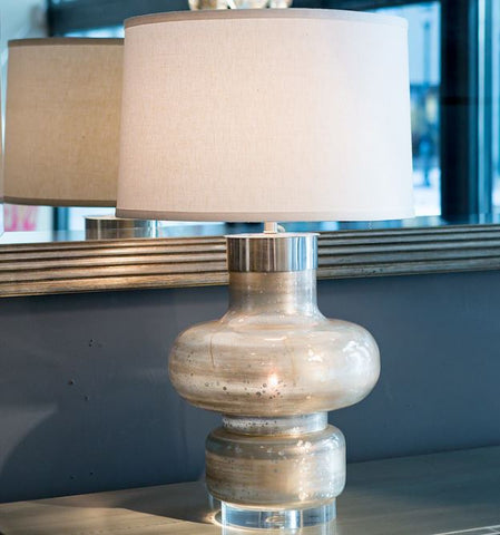 Daphne Table Lamp Silver Spotted Blue - Mr. Brown London