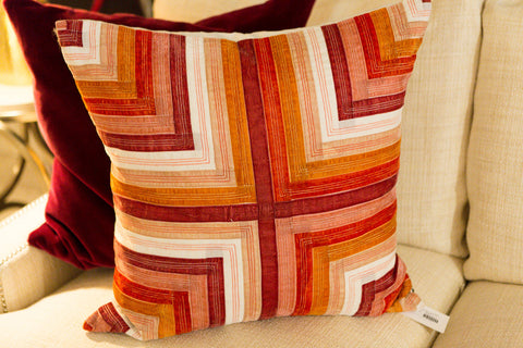 Multi Ribbon/Velvet Mitered Pillow - Callisto Home