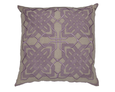 Natural Linen and Lavender Embroidery Pillow - Callisto Home