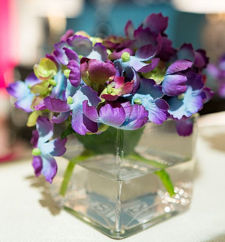 Hydrangea, Glass Cube - Natural Decorations