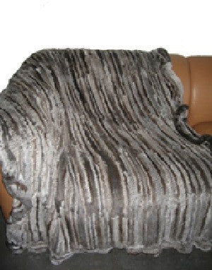 Natural Goma Throw with Ruffle Grey - Adrienne Landau