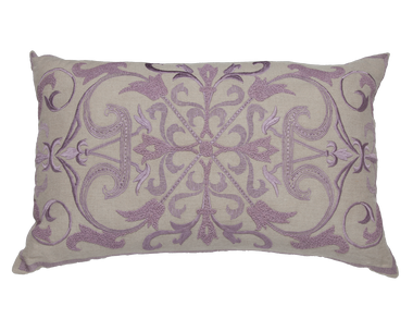 ebe6ff323187f Natural Linen and Lavender Embroidery Pillow - Callisto Home