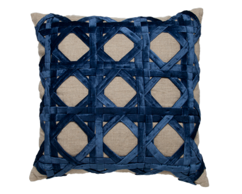 Natural Linen Navy Velvet Pillow - Callisto Home