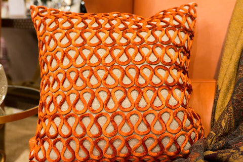 Natural Linen Orange Velvet Pillow - Callisto Home