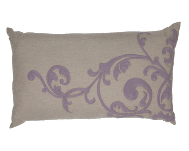 Natural Linen and Lavender Embroidery Left Pillow - Callisto Home