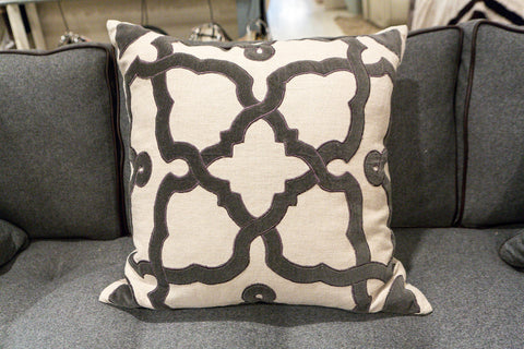 Natural Linen/Charcoal Velvet Pillow - Callisto Home