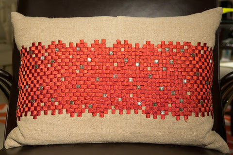 Natural Linen/Coral Embroidery Pillow - Callisto Home