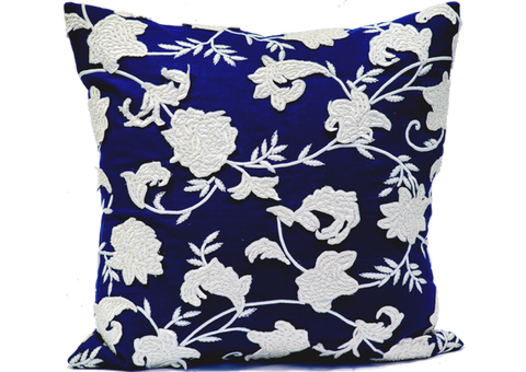 Navy Linen Creme Applique Pillow - Callisto Home
