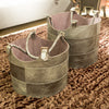 Nested Gunmetal Leather Buckets - Dimond Home