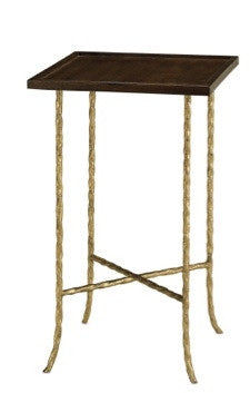 Gilt Twist Square Table with Wood Top - Currey & Co.