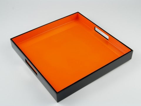Orange Black Lacquer Serving Tray - Pacific Connections