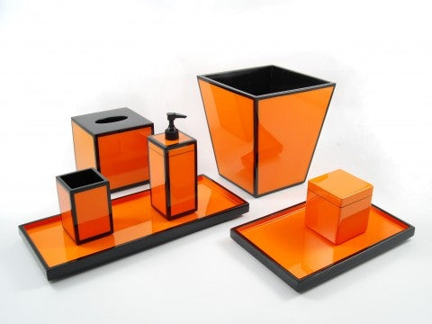 Orange Black Lacquer Waste Basket - Pacific Connections