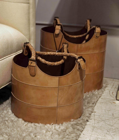 Nested Caramel Leather Buckets - Dimond Home