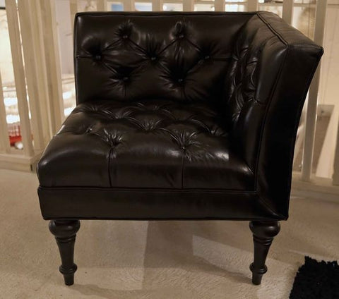 Gloss Black Leather Salon Corner Chair - Bernhardt Furniture