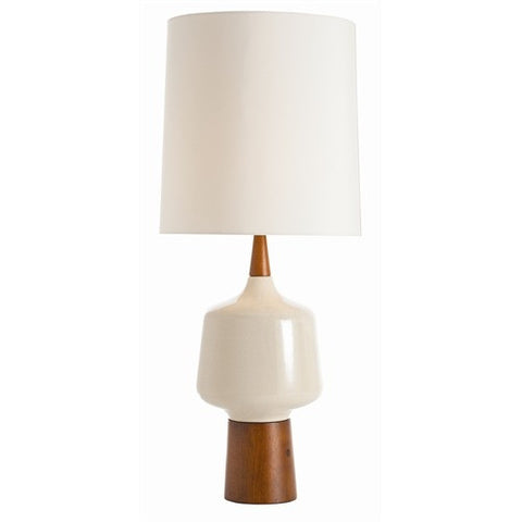 Calhoun Ivory Porcelain/Light Walnut Wood Lamp - Arteriors Home