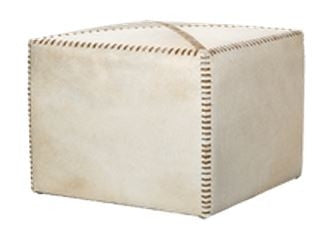 Large White Hide Ottoman - Jamie Young