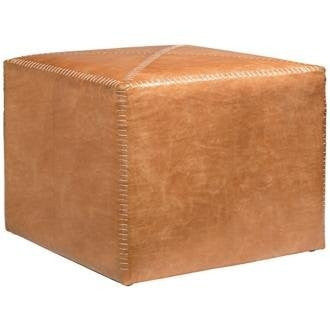 Large Buff Leather Ottoman - Jamie Young