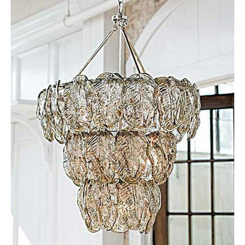 Silver Glass Leave Chandelier - Regina-Andrew Design