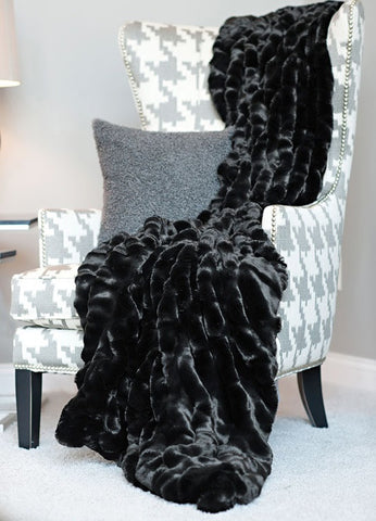 Onyx Mink Couture Faux Fur Throw - Fabulous Furs