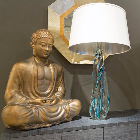 Ocean Twist Lamp With Silk Shade - Studio A