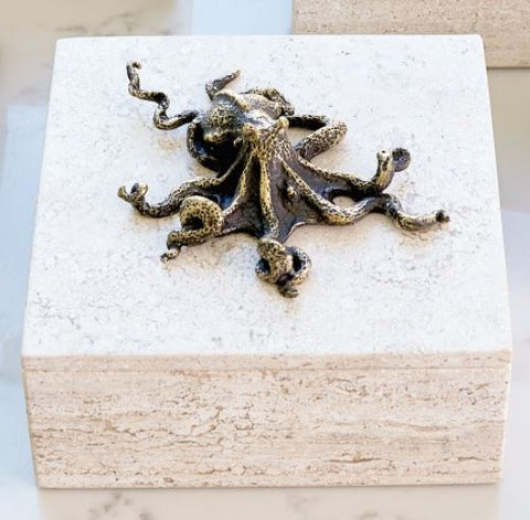 Bronze Octopus Travertine Box - Global Views