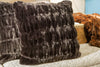 "Onyx Mink Faux Fur 24"" Square Pillow - Fabulous Furs"