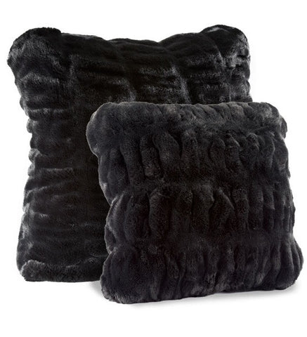 Onyx Mink Faux Fur Pillow 24x24 - Fabulous Furs