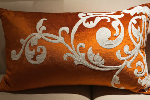 Orange Velvet/Cream Embroidery Left Pillow - Callisto Home