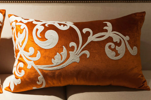 Orange Velvet/Creme Embroidery Right Pillow - Callisto Home