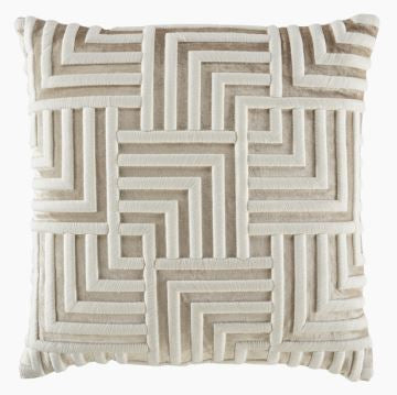 Sand Velvet/Creme Bullion Embroidered Pillow - Callisto Home