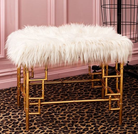 Faux Fur Bench - Two's Company