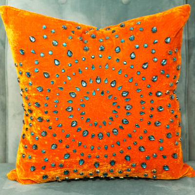 Pumpkin Silk Turquoise Rhinestones - Sabira Collection